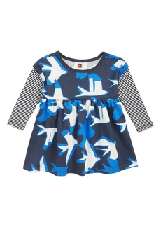 Tea Collection Layered Sleeve Dress (Baby Girls)