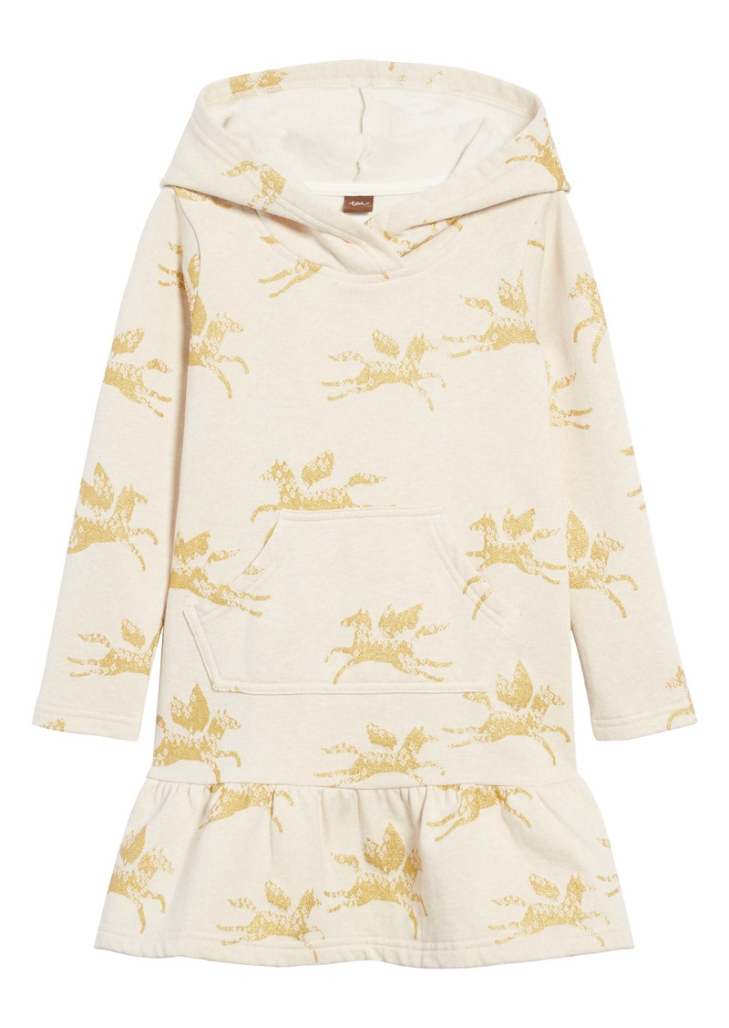 Tea Collection Metallic Horse Hooded Sweatshirt Dress (Toddler Girls, Little Girls & Big Girls)