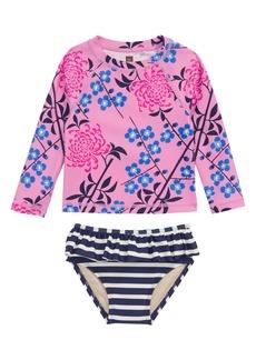 Tea Collection Mixed Print Two-Piece Rashguard Swimsuit (Baby Girls)