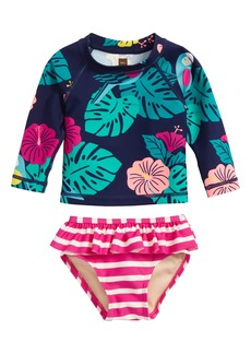 Tea Collection Mixed Print Two-Piece Rashguard Swimsuit (Baby Girls)