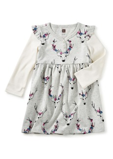Tea Collection Oh Deer Layered Henley Dress (Baby Girls)