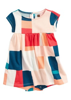 Tea Collection Patchwork Romper Dress (Baby Girls)