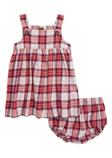 Tea Collection Plaid Flannel Jumper Dress (Baby Girls)