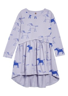 Tea Collection Print Asymmetrical Wrap Dress (Toddler Girls, Little Girls & Big Girls)