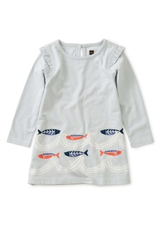Tea Collection Sardines Graphic Long Sleeve Dress (Baby)
