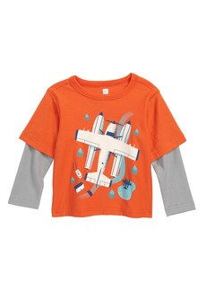 Tea Collection Seaplane Layered Sleeve T-Shirt (Baby)