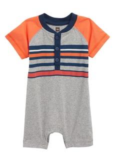 Tea Collection Stripe Henley Romper (Baby Boys)