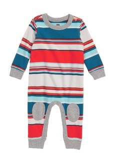 Tea Collection Stripe Knee Patch Romper (Baby Boys)