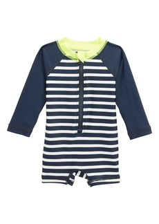 Tea Collection Stripe One-Piece Rashguard Swimsuit (Baby Boys)
