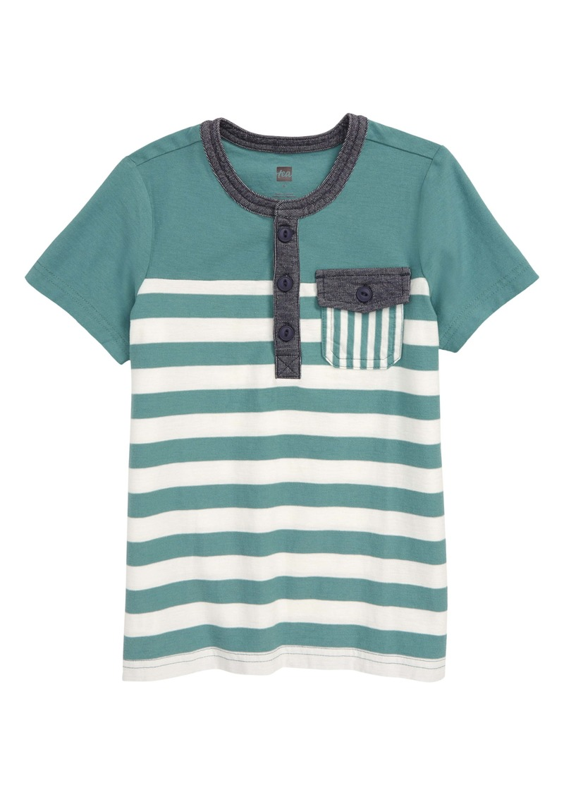 Tea Collection Stripe Pocket Henley (Toddler & Little Boy)