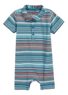 Tea Collection Stripe Polo Romper (Baby Boys)