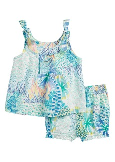 Tea Collection Tropical Floral Top & Shorts Set (Baby Girls)