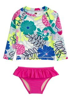 Tea Collection Two-Piece Rashguard Swimsuit (Baby Girls)