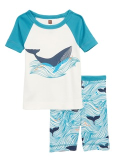 Tea Collection Wavy Whale Fitted Two-Piece Short Pajamas (Toddler Boys, Little Boys & Big Boys)