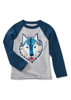 Tea Collection Woof Wolf Raglan Sleeve T-Shirt (Toddler Boys & Little Boys)