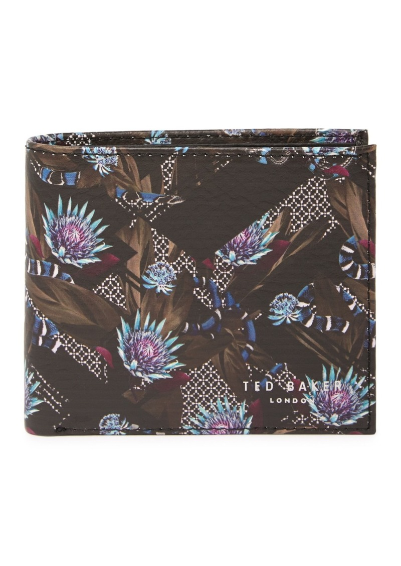 Buttun Printed Leather Bifold Wallet