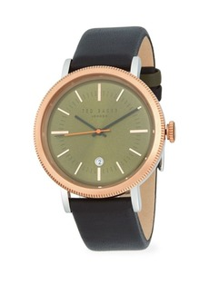 Ted Baker Connor Stainless Steel Leather Strap Watch