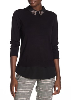 Ted Baker Embellished Collar Long Sleeve Sweater