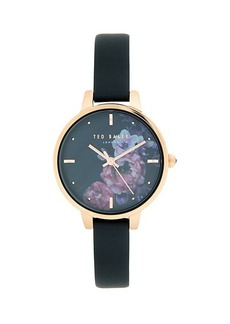 Ted Baker Floral Dial Stainless Steel Leather Strap Watch