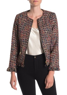 Ted Baker Frayed Boucle Front Zip Jacket
