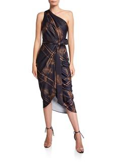 Ted Baker Gabia Printed One-Shoulder Midi Wrap Dress