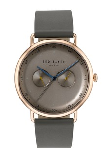 Ted Baker Men's George Multifunction Leather Strap Watch, 40mm