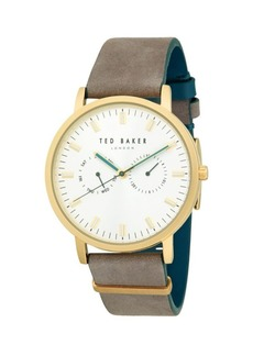 Ted Baker Goldtone Stainless Steel Leather-Strap Watch