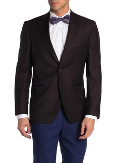 Ted Baker Jack Burgundy Check Two Button Notch Lapel Wool Dinner Jacket