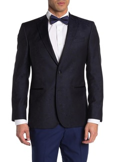 Ted Baker Jack Navy Camo Two Button Notch Lapel Wool Dinner Jacket