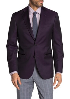 Ted Baker Jack Purple Solid Two Button Notch Lapel Wool Blend Suit Separate Blazer