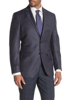 Ted Baker Jarrow Blue Plaid Two Button Notch Lapel Wool Suit Separates Blazer