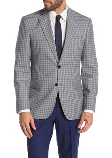 Ted Baker Jarrow Light Grey Box Check Two Button Notch Lapel Wool Sport Coat