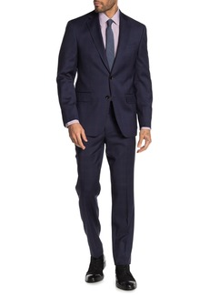 Ted Baker Jarrow Navy Plaid Two Button Notch Lapel Wool Trim Fit Suit