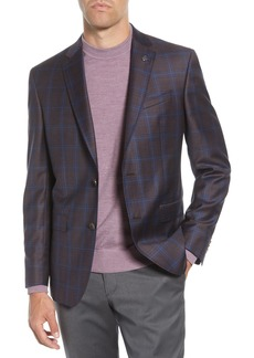 Ted Baker Jay Berry Windowpane Notch Lapel Wool Trim Fit Sport Coat