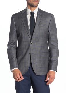 Ted Baker Jay Grey Plaid Wool Trim Fit Suit Separates Sport Coat