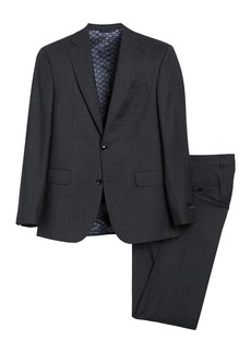 Ted Baker Jay Grey Sharkskin Two Button Notch Lapel Suit
