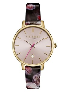 Ted Baker Kate Stainless Steel and Leather Strap Watch