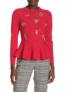 Ted Baker Long Sleeve Embellished Front Top