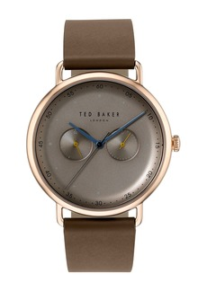 Ted Baker Men's 2-Eye Multifunction Leather Strap Watch, 40mm