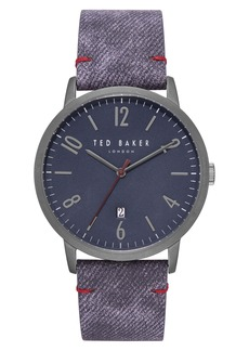 Ted Baker Men's Daniel Black/Red Strap Watch, 42mm