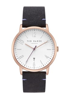 Ted Baker Men's Daniel Leather Strap Watch, 42mm