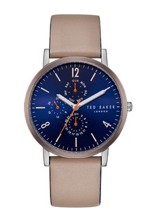 Ted Baker Men's Graham Leather Strap Watch, 40mm
