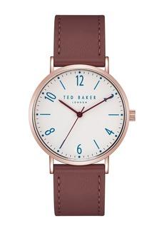 Ted Baker Men's Hank Leather Strap Watch, 40x48mm