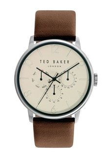 Ted Baker Men's James Leather Strap Watch, 42mm