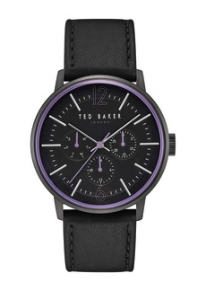 Ted Baker Men's Jason Multifunction Leather Strap Watch, 42mm