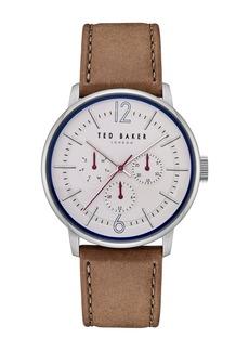 Ted Baker Men's Jason Multifunction Leather Strap Watch, 42mm