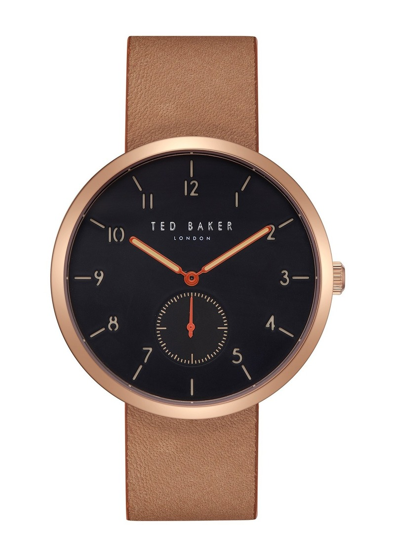 Ted Baker Men's Josh Leather Strap Watch, 42mm