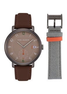 Ted Baker Men's Leather Strap Watch & Mesh Strap Gift Set, 43mm