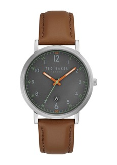 Ted Baker Men's Leather Strap Watch Gift Set, 40mm