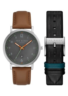 Ted Baker Leather Strap Watch Gift Set, 40mm